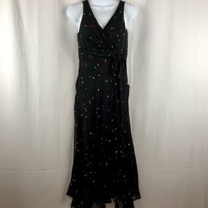 Anne Klein sheer silk polka dot midi dress 6